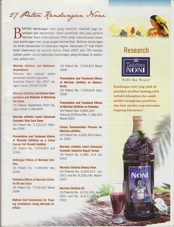 Daftar paten Jus Tahitian Noni
